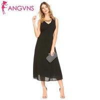 ANGVNS Elegant Party Sleeveless Draped Backless Chiffon Dress Women Sexy V Neck Slim Fit Maxi Dresses