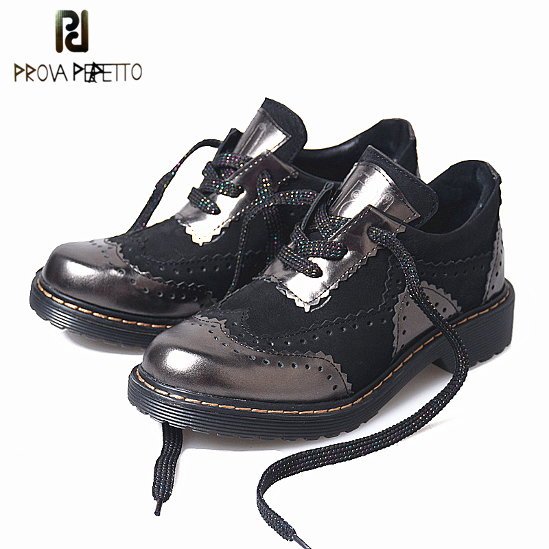Prova Perfetto Elegant Genuine Leather Patchwork Sewing Thick Bottom Shoes England Style Lace Up Round Toe Woman Shallow BootsProva Perfetto Elegant Genuine Leather Patchwork Sewing Thick Bottom Shoes England Style Lace Up Round Toe Woman Shallow Boots