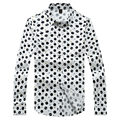 Leisure Shirt for Men Black Long Sleeve Chinese Style Spring Printed Cotton Fit Casual Shirt Non-ironing Large Size Gent Life
