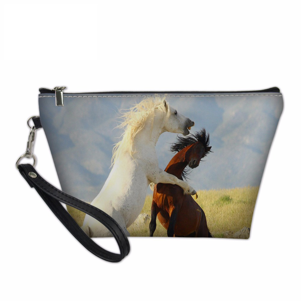 Noisydesigns Cosmetic Bags & Cases Necessaire Makeup Functional Bag Travel Organize Make Up Pouch Horse Prints Toiletry Bag