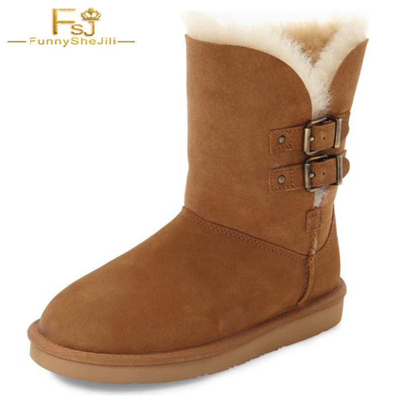 Camel Shoes Round Toe Snow Boots For Winter Buckle Strap Flat With Mid-calf Flock Woman Shoes Comfortable Casual Big Size 11 FSJ double buckle cross straps mid calf boots