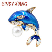 CINDY XIANG New Arrival Enamel Cute Blue Dolphin Brooches for Women Rhinestone Inlay Winter Coat Hat Brooch Pins Fashion Jewelry(China)