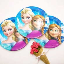 Frozen 10pcs 7inch Elsa And Anna Plate Children Party Supplie Theme kids Birthday Decoration Festival Supplies Set