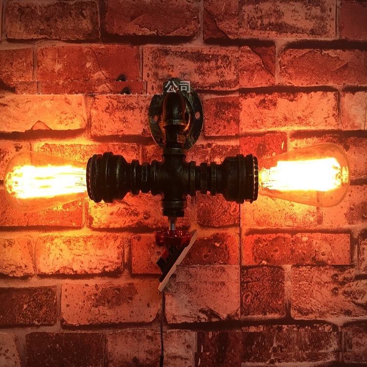 Nordic Loft Style Double Water Pipe Lamp Industrial Vintage Wall Light For Home Bedside Edison Wall Sconce Lampara Pared loft style edison decorative wall sconce mirror wall light fixtures vintage industrial lighting wall lamp for home lampara