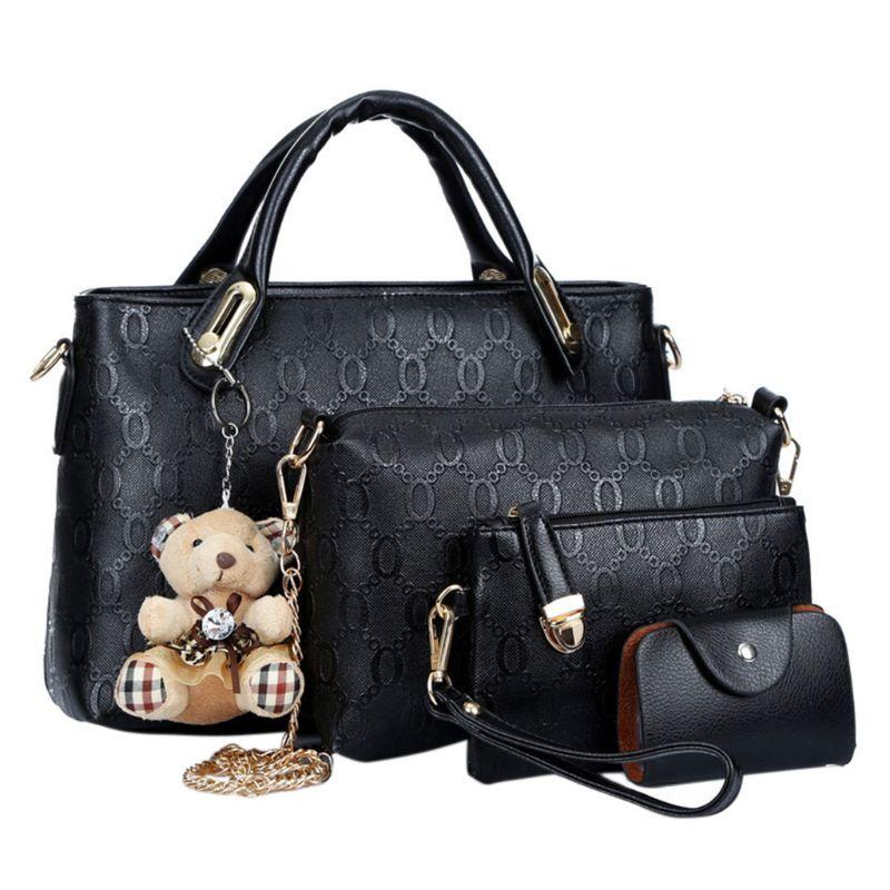 4PCS/Set Women Lady Leather Handbag Tote Purse Satchel Messenger Shoulder Bags  4PCS/Set Women Lady Leather Handbag Tote Purse Satchel Messenger Shoulder Bags