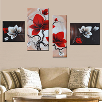 Modern Wall Art Modular Pictures Hand Painted Abstract Oil Paintings on Canvas 4 Panel Red Orchids Flowers for Living Room Decor