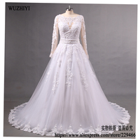 WUZHIYI Luxury Lace Appliques Puffy Tulle Ball Gown Wedding Dresses 2017 Custom Made Beading Wedd Gown