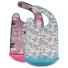 2 Pieces Extra Large Waterproof Adult Mealtime Bib Clothes Clothing Reusable Protector Aprons
