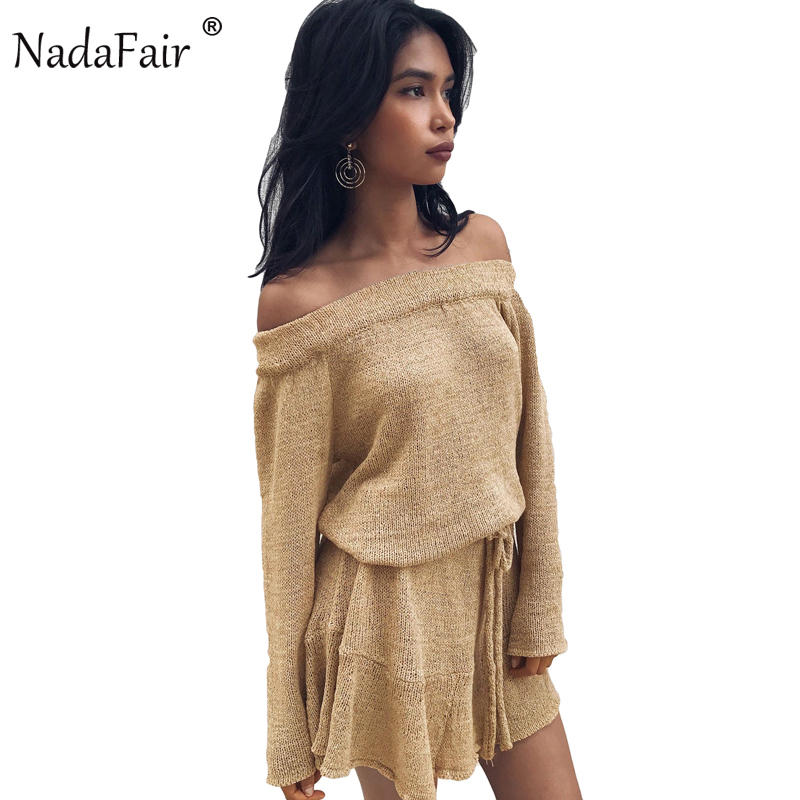 Nadafair Off Shoulder Long Sleeve Bow Knitted Sweater Dresses 2017 New Autumn Ruffles Sexy Club Party Dresses