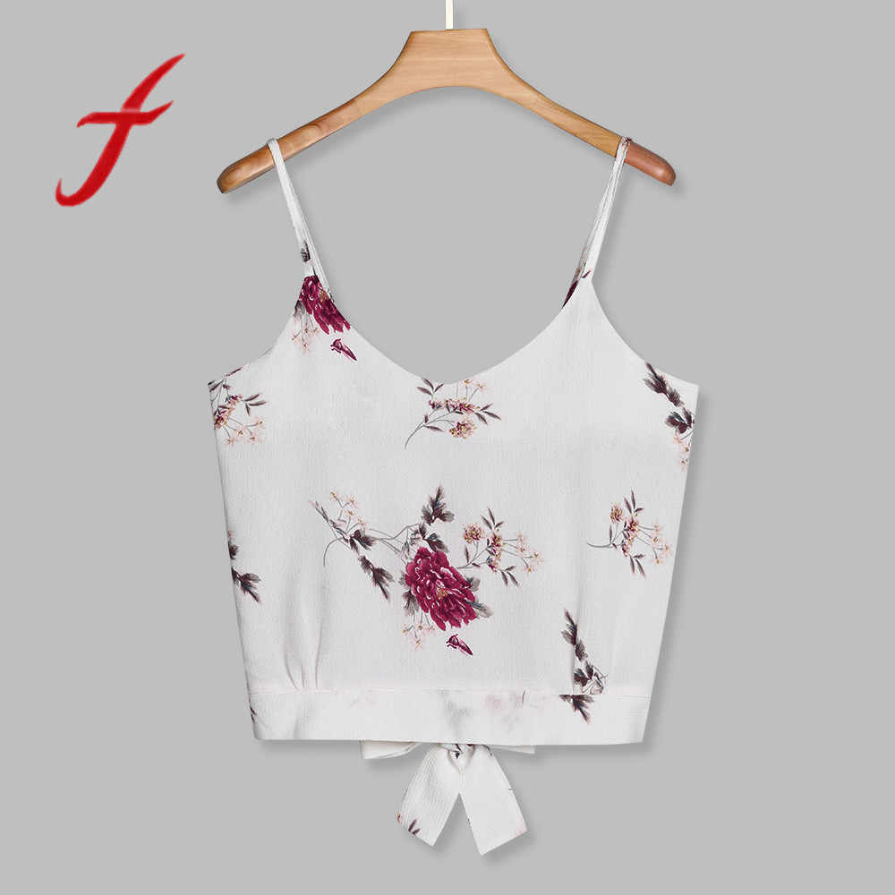 0d758f88e3648 Feitong Women s Crop Tops Sexy Strappy Self Tie Back V Neck Floral Print  Tops And Blouse