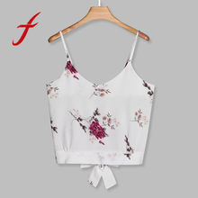 6cab25f3a61 (Ship from US) Feitong Women's Crop Tops Sexy Strappy Self Tie Back V Neck  Floral Print Tops And Blouse Camisole female cropped feminino 2018