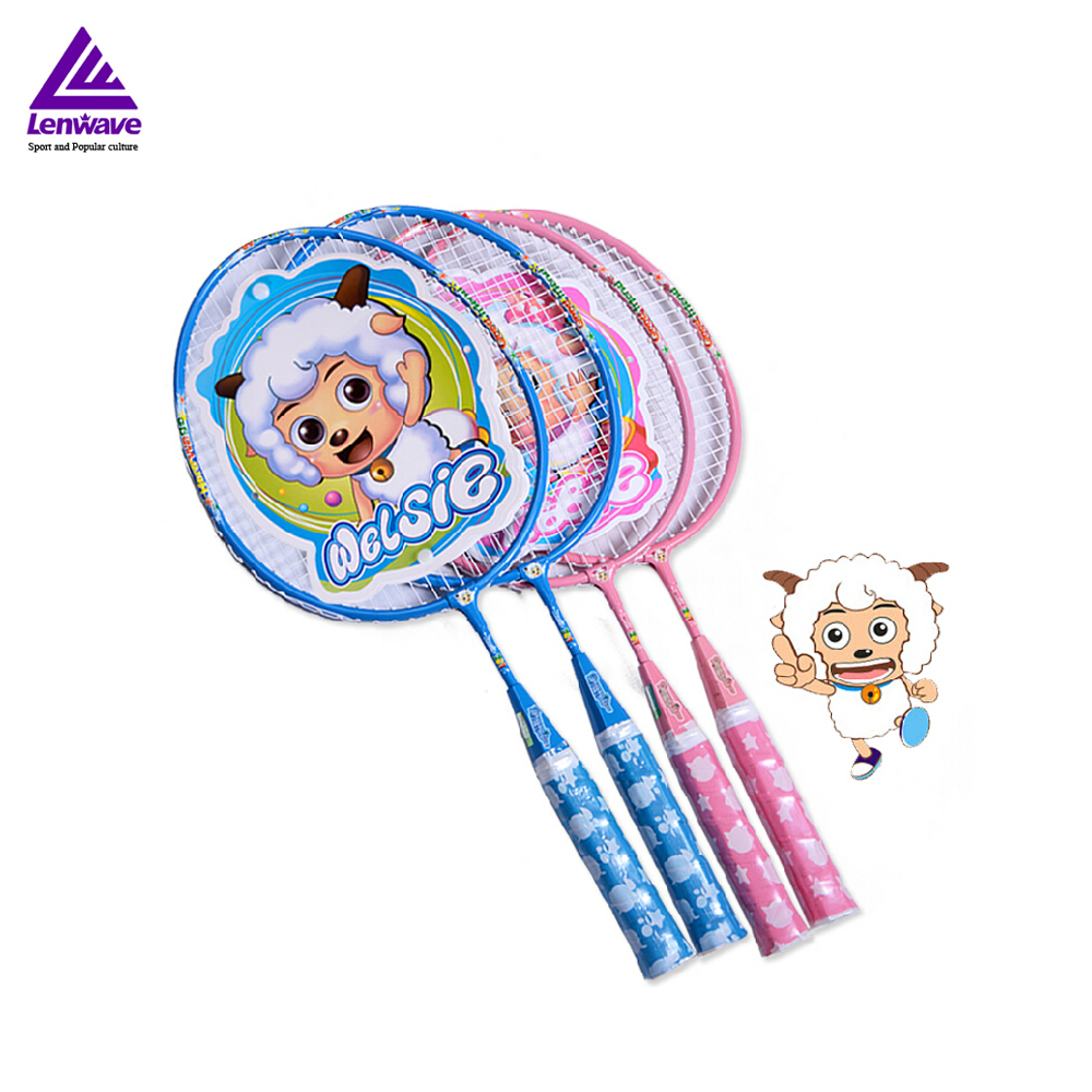 1 Pair Blue Pink Badminton Rackets For Kids Sports Training Plesant Goat and Big Big Wolf Hot Sales
