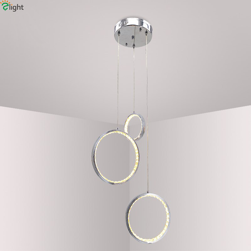 Modern Chrome Rings Led Pendant Lights Crystal Dining Room Led Pendant Light Living Room Led Pendant Lamp Hanging Light Fixtures free shipping modern led crystal pendant lamps crystal pendant lights round rings stainless steel dinning living room lights