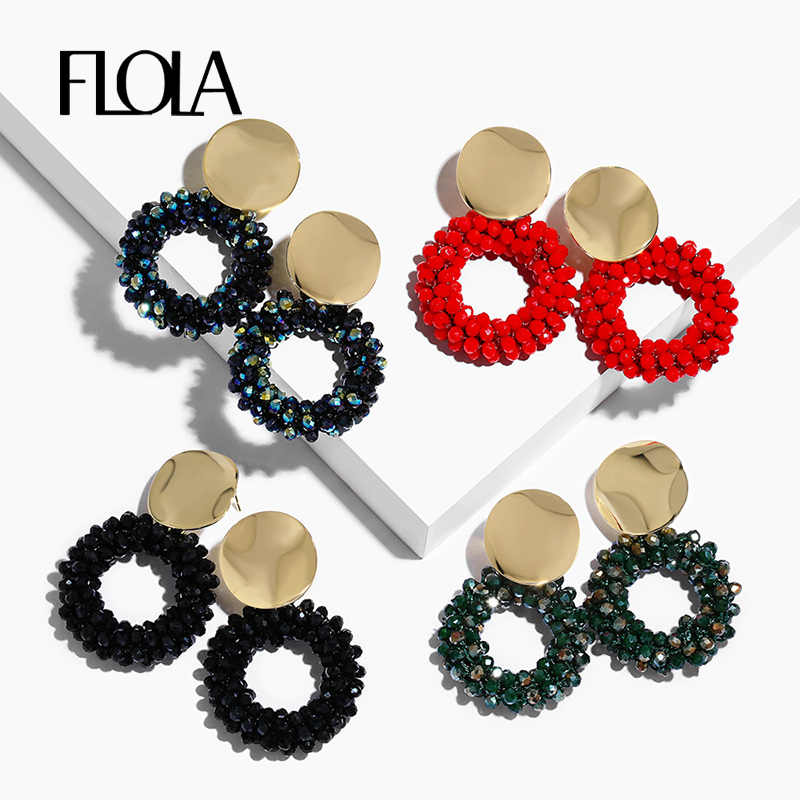 FLOLA 2019 Lott Oorbellen for Woman Gold Crystal Beaded Earrings Bohemia Jewelry Brincos Handmade Round Drop Earring ersp46