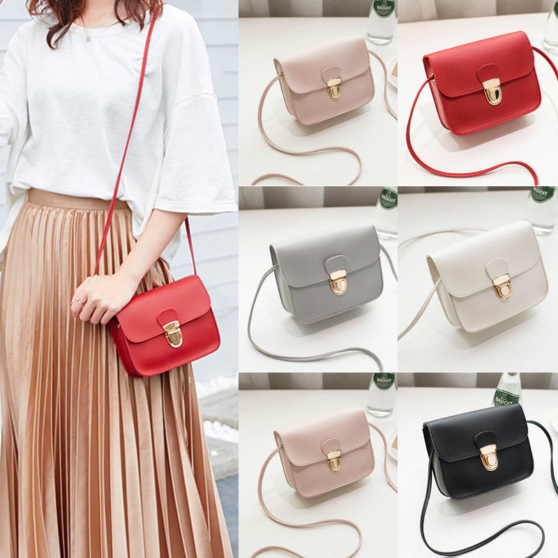 Women Ladies Cross Body Messenger Small Bag Shoulder Bags Tote Satchel Handbag Lock Fitted Single Shoulder-slanting Girdle