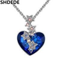 SHDEDE Niebieski Austria Kryształ Krótki Uroku Naszyjnik Gwiazda Romantic Love Heart Projekt Trendy Exquisite Klasyczne Sprzedaż. 26518