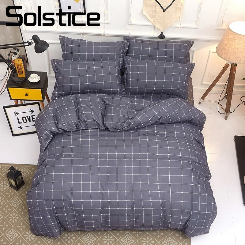 Solstice Home Textile Stripe Lattice Bedding Set For Teen Adults Boy Girl Geometric Duvet Quilt Cover Pillowcase Bed Sheet Linen