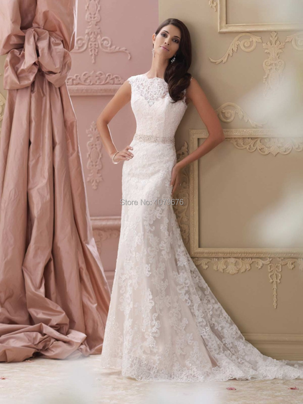 High quality elegant wedding dresses vintage lace beaded for Lace sleeve backless wedding dress