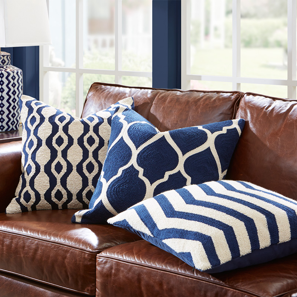 Essie Home High End Full Embroidery Classic Pattern Blue Navy Collection Geometric Pattern Cushion Cover Pillow Case