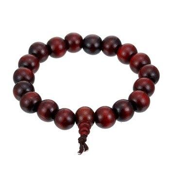 Fashion Natural Wood Beads Elastic Bracelets Bangles For Men Jewelry Black Red Sandalwood Meditation Buddha Prayer Bead Bracelet men beaded bracelet red