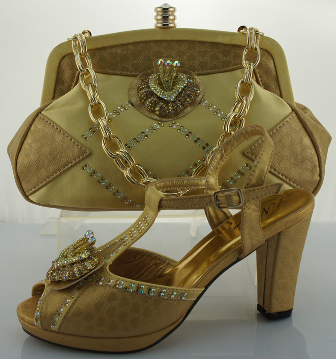 ME0021 Yellow 2016 New Comming Matching italian shoe and bag set with free shipping High heel