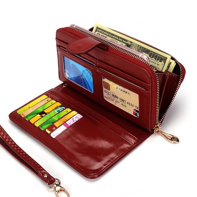 Women Wallet Female Purse Women Leather Wallet Long Trifold Coin Purse Card Holder Money Clutch Wristlet Multifunction Zipper 3