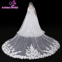2017 New Velos de Novia 4 Meters Ivory Lace 3D Flowers Bridal Veil Sparkling Appliques Edge Purfle Long Cathedral Wedding Veils