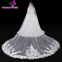 2017 New Velos de Novia 4 Meters Ivory Lace 3D Flowers Bridal Veil Sparkling Appliques Edge Purfle Long Cathedral Wedding Veils