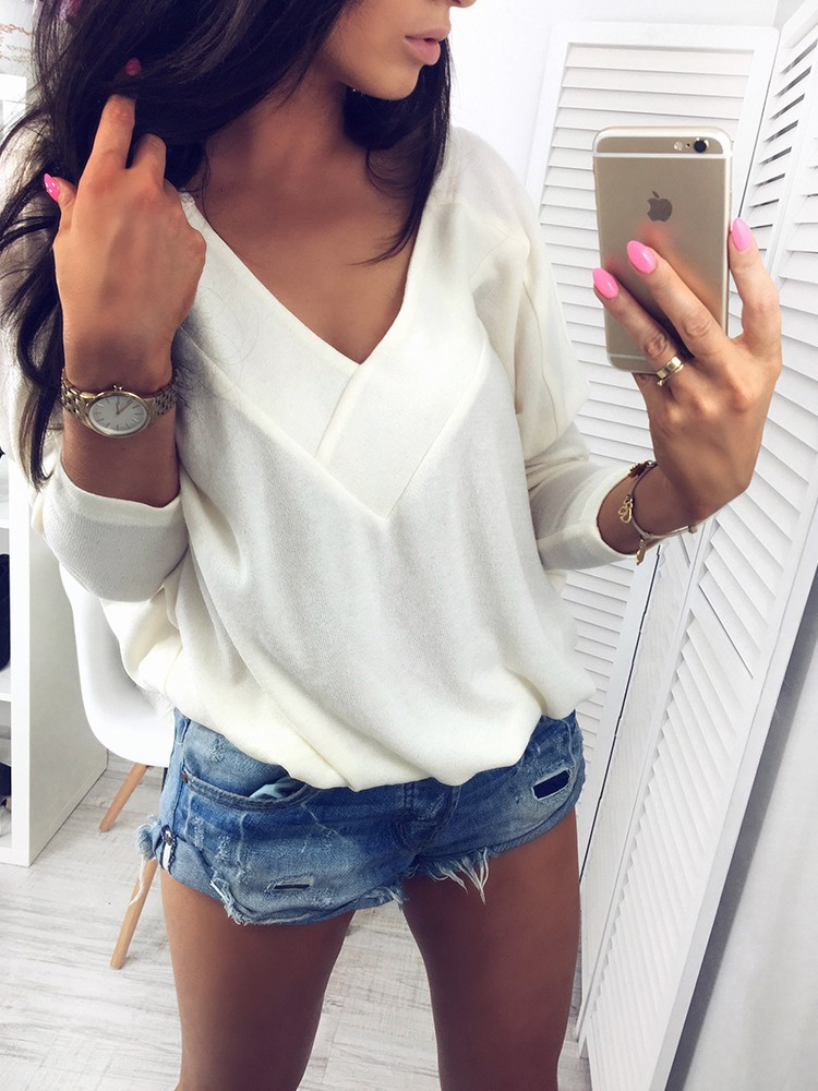 New Autumn 2017 Sexy Casual font b Women s b font T shirts V Neck Long