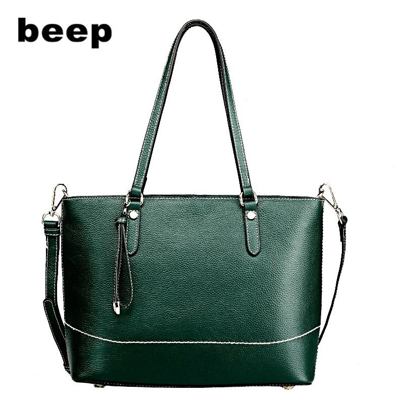 Beep 2018 New Superior cowhide Luxury fashion women Genuine Leather bag Simple women leather shoulder bag  women's bag beep beep go to sleep