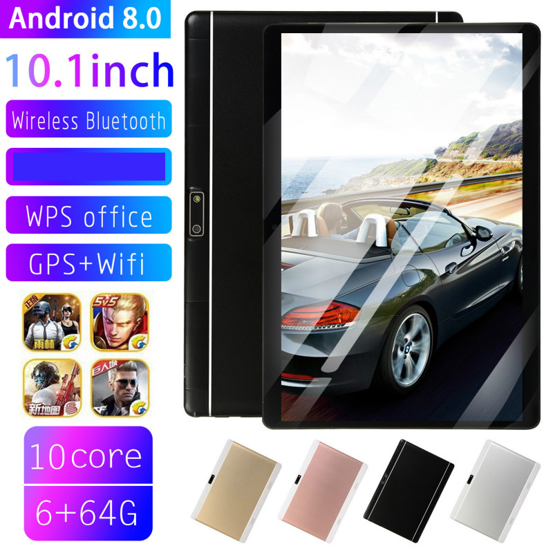 2019 Newest 10.1 Inch 4G LTE Tablet MT8752 Octa Core 6GB RAM 64GB ROM Dual SIM 5.0MP GPS Android 8.0 1280*800 IPS The Tablet