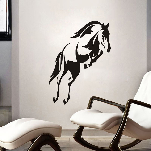 animals wall decals outline beautiful horse jumping wall stickers