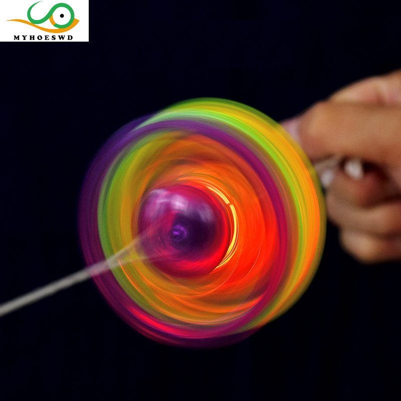 MYHOESWD 10PCS Lot Gyro Colorful Plastic Spin LED Light Flying Disc Kids Outdoor Classic Toy Random