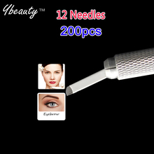 200pcs White 12 Needles Permanent Makeup Blades Manual Eyebrow Tattoo Pen Blades For Tattoo Needles