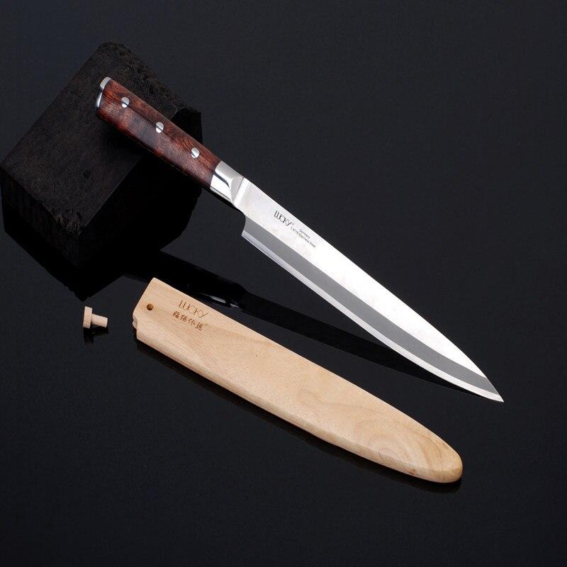 10.5 ''Unique Biseauté Main Droite Utiliser Professionnel Yanagiba Chef Couteau Sushi Sashimi Allemagne Lame En Acier Rose Manche En Bois 8.3.2