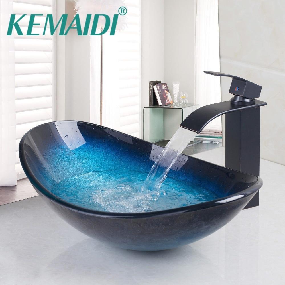 KEMAIDI Bathroom Wash Basin Tempered Glass Brass Basin Hand Painting ...
