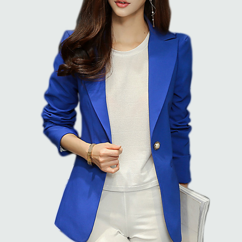 Ladies Blazer  Long Sleeve Blaser Women Suit Jacket Office Lady Female Feminine Blazer Femme Royal Blue / Black Blazer