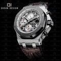 DIDUN mens watches top brand luxury  Men Sport Quartz Watches  Steel Luxury Brand Wristwatch  Leather strap Water resistant