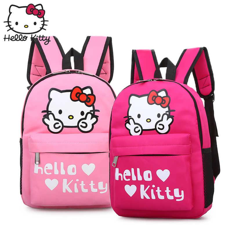 Hello kitty сумка Детская мультфильм милый ребенок рюкзак Kawaii Большой KT сумки водостойкие нейлон мальчик школьные сумки для девочек плюшевые