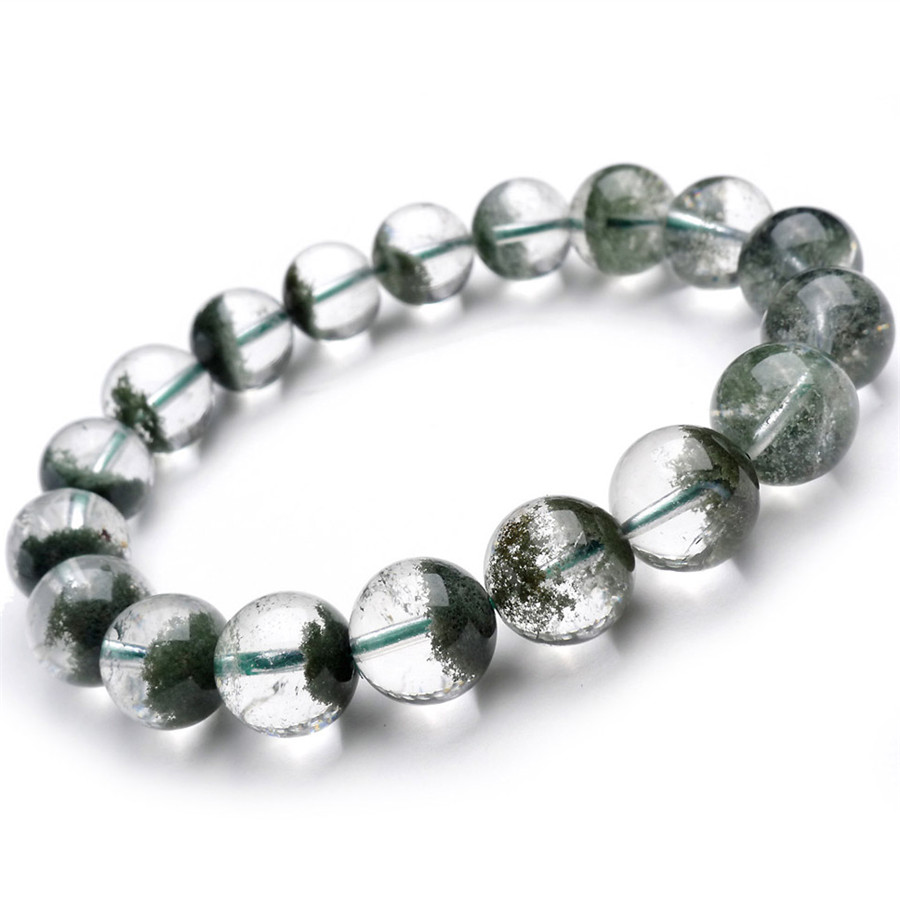 11mm Genuine 100% Natural Green Phantom Quartz Ghost Stone Fashion Charm Stretch Mens Jewelry Bracelet11mm Genuine 100% Natural Green Phantom Quartz Ghost Stone Fashion Charm Stretch Mens Jewelry Bracelet