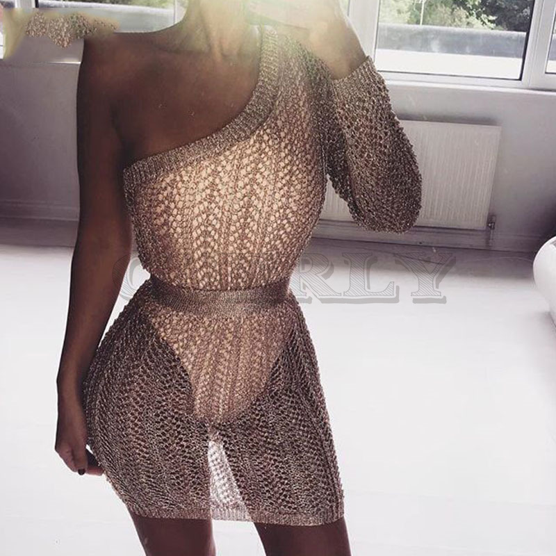CUERLY 2019 charming shine rose gold knit dress women party club one shoulder mini dress silver gold hollow out bodycon dresses in Dresses from Women 39 s Clothing