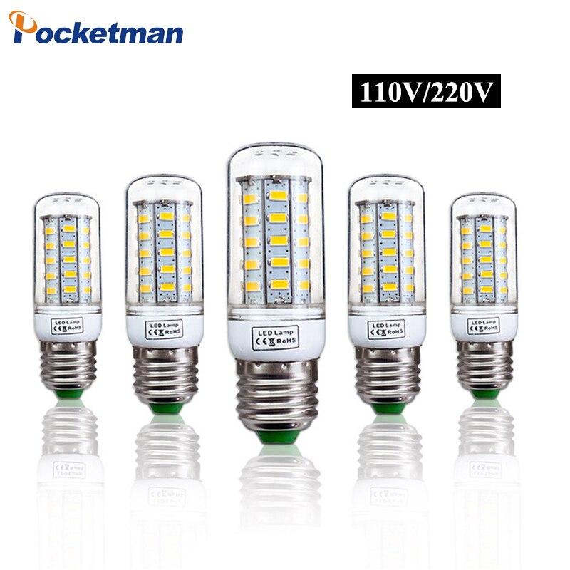 E27 LED Lamp E14 LED Light 220V 110V LED Bulb 24LEDs 36LEDs 48LEDs 56LEDs 69LEDs Corn Light SMD 5730 No Flicker Lights