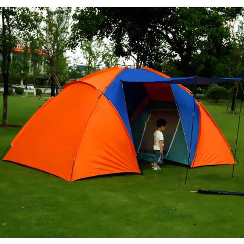 Большая походная палатка для 5 8 человек, водонепроницаемая двухслойная палатка для путешествий с двумя спальнями, семейные вечерние палатки для путешествий, рыбалки, 420x220x175 см - 2