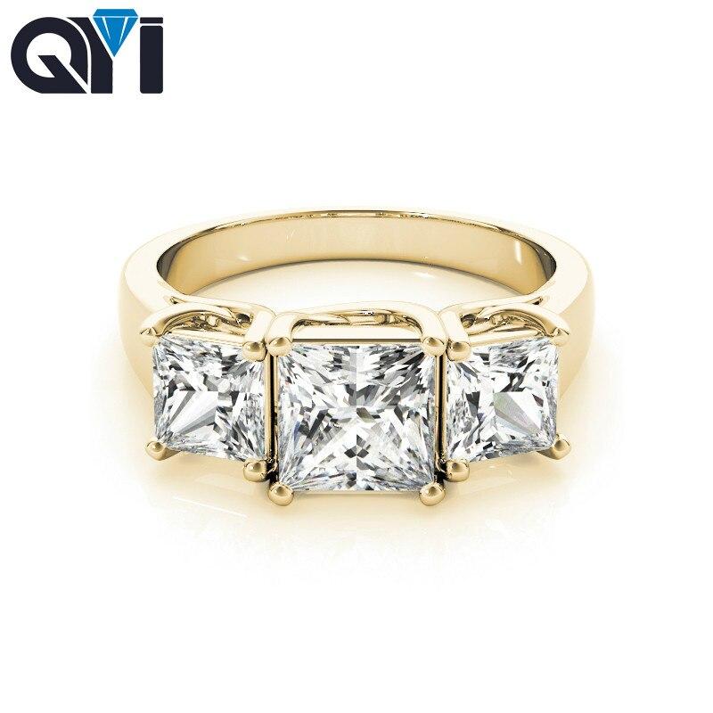 QYI 10k Yellow gold Rings Jewelry For Women 1.25 ct Three Stone Princess Square Zircon Fashion Birthday Present