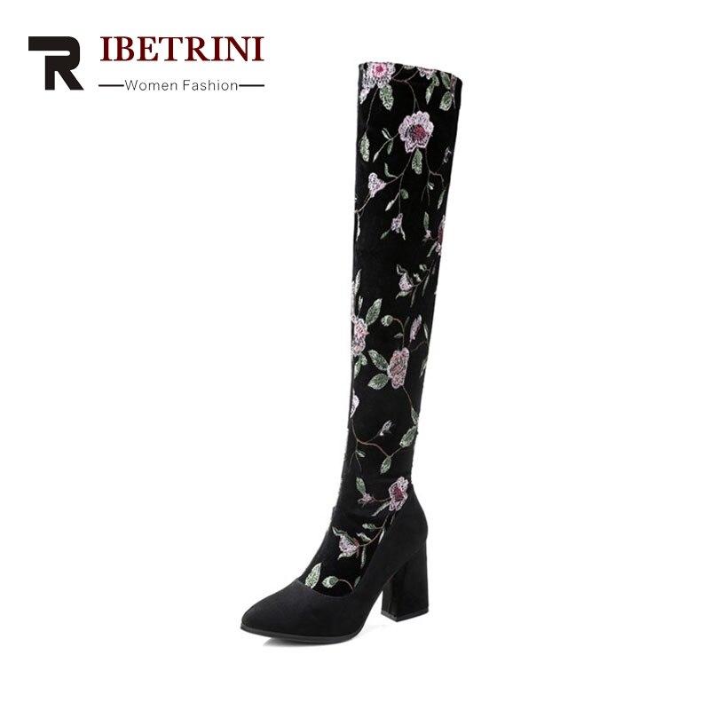 RIBETRINI 2018 Winter Sexy Cow Suede Slim Thigh High Boots Zip Flower Elegant High Hoof Heel Women Shoes Large Size 34-43