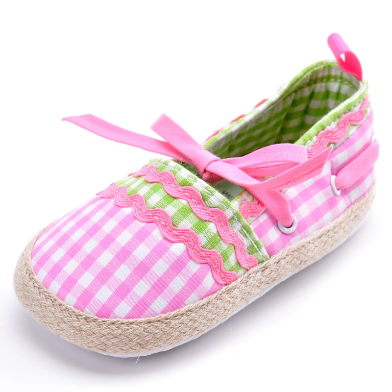 Girl Toddler Soft Sole font b Tartan b font Princess Shoes Pink Jane Baby Shoes Prewalkers