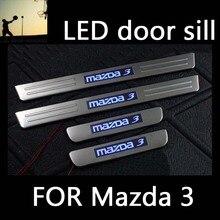 Нержавеющей стали синий СВЕТОДИОД скребок дверные накладки на пороги для Mazda 3 M3 2007 2008 2009 2010 2011 2012 стайлинга автомобилей авто аксессуары