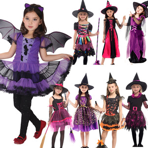 Image 4 - 2019 New Witch Suit Cosplay Halloween Party Children Costume For Girls Halloween Clothing Set Witch Dress Hat cloak Accessories
