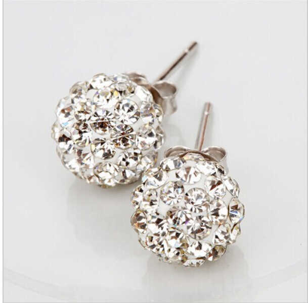 New Fashion Jewelry Silver Rhinestone Crystal 10MM Beads stud earrings mix colorful
