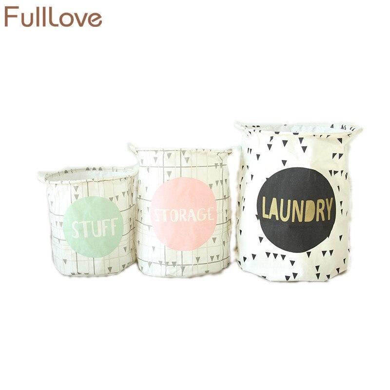FullLove Vogue Tela di lino in cotone cestino di immagazzinaggio giocattolo Decorazioni per la casa Impermeabile Fold cestino di lavanderia Drawstring Box Holder S / M / L